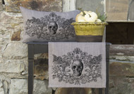 Grey Gothic Skull Halloween Table Runner