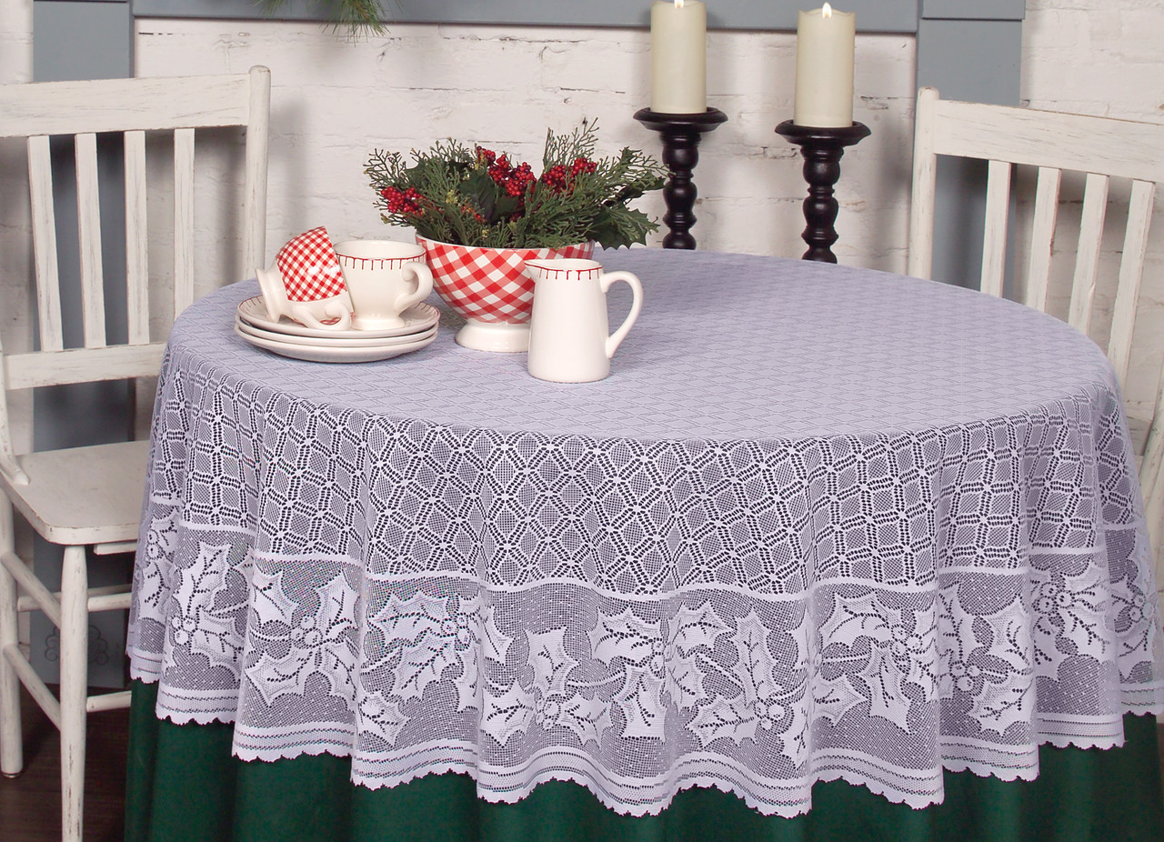 Holly Vine Round Christmas Tablecloth Yourtablecloth