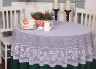 White Holly Vine Round Christmas Tablecloth