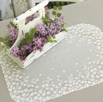 White Blossoms on Lace Placemat