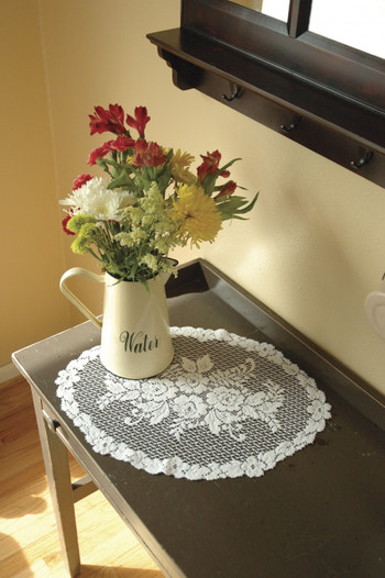 White Victorian Rose Lace Placemats