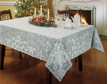 White Holly Glow Vintage Christmas Tablecloth