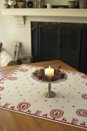 Red and White Felicity Christmas Table Toppers