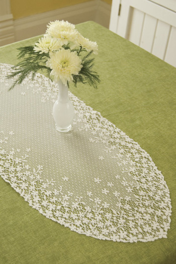 Little Blossoms on White Table Runners