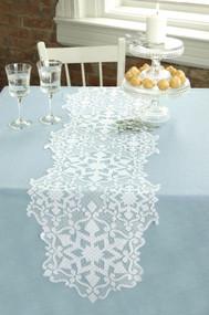White Snowflakes Glisten Christmas Table Runners