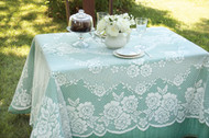 Victorian Rose Rectangle Vintage Lace Tablecloth