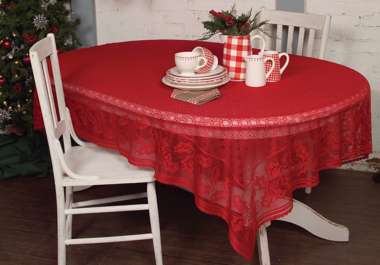 Holly Vine White Red Christmas Tablecloth Yourtablecloth