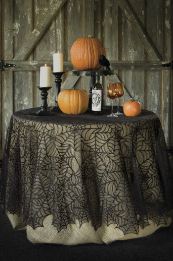 Halloween Round Tablecloth With Spider Web Design