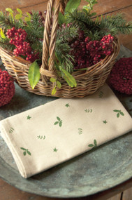 Christmas Cloth Napkins in Green and White