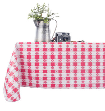 Checkered Vinyl Tablecloth in Red and White