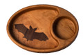This custom made wooden bowl has a decorative bat inlay.  Use this bowl for veggies and dip or just for decoration or conversation piece.  Made Exclusively for Habitat For Bats LLC by Muhs