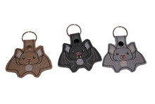 A Bit Batty Key Fobs! Available in Light Gray, Dark Gray (Black), Tan, Red and Brown. (Red and Brown not shown - yet.)