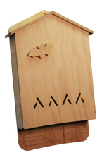 Front view of the assembled 4 Chamber Bat House Kit, unpainted.  Please note:  we no longer include the decorative bat.