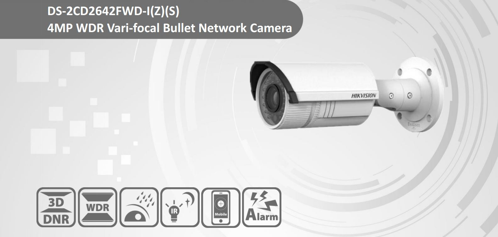 Hikvision OEM DS-2CD2642FWD-IS 4MP IP Bullet IP Camera 2 8-12mm