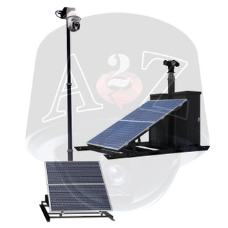 A2Z MPMS2 Modular Portable Mast Surveillance Skid Samples shown with popular Solar Power system for continuous, wireless video security