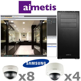 Aimetis Samsung AS1-IP-SYSTEM 12ch Megapixel Dome IP Security Camera System