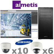 Aimetis Samsung AS2-IP-SYSTEM complete 16ch Megapixel HD Dome IP Security Camera System package.