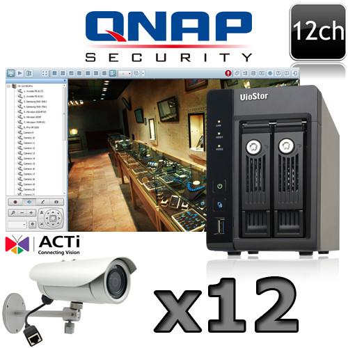 QNAP ACTI 12 channel IR Bullet 5 Megapixel IP Camera System