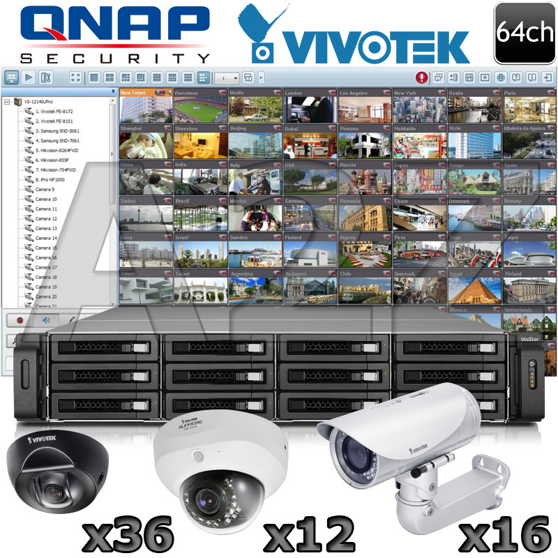 Qnap Vivotek 64 Channel Megapixel Ir Ip Security Camera