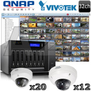 QNAP Vivotek 32ch 1080P HD IR Dome IP Security Camera System