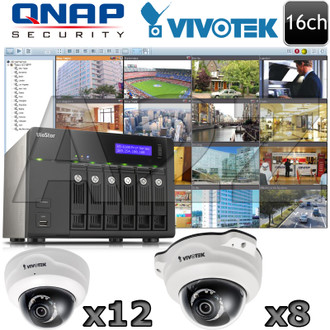 QNAP Vivotek QV10 16ch 1080P HD IR Dome IP Camera System