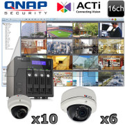 QNAP ACTI QA9 16ch 3 Megapixel IR Dome IP Security Camera System