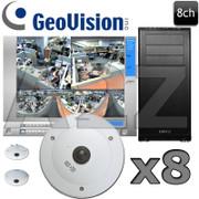 Geovision 8ch 2MP 360 Degree Fisheye IP Security Camera System GV8