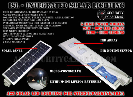 A2Z ISL Series Solar Power LED Street Light - Safety / Security / Parking / Area