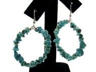 Genuine Semi-Precious Hoop Earrings : Turquoise
