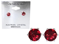 Swarovski Crystal Elements Stud Earrings : Ruby
