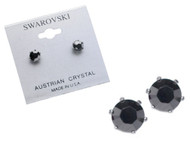 Swarovski Crystal Elements Stud Earrings : Jet Metallic Silver