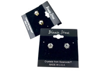 Swarovski Crystal Elements Stud Earrings : Jet Metallic Silver