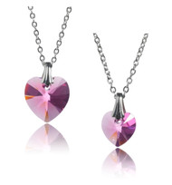 Bianca Stone Swarovski Crystal Heart Mother & Daughter Necklace Set
