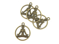 Wholesale Bronze Lotus Pose Pendants by the Dozen