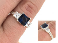 Sterling Silver and Blue CZ Princess Ring Wholesale