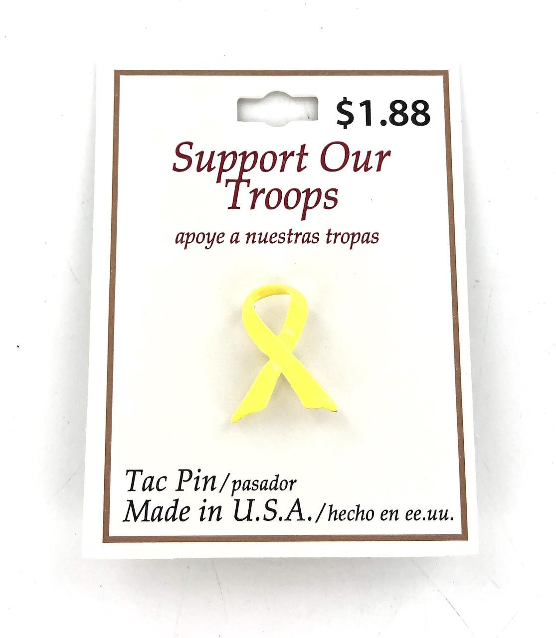 Wholesale Yellow Ribbon Tac Pins - 100 Pieces