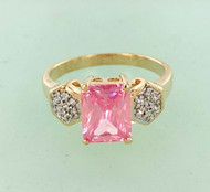 Pink Emerald Cut CZ Ring Closeout
