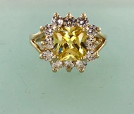 Cushion Cut Canary CZ Ring Closeout