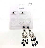 Wholesale Dept Store Earrings - Black Drops