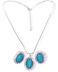 Wholesale Blue Stone and Halo Necklace and Earring