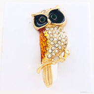 Wholesale Owl Pin - Brown and Black with Crystal