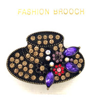 Wholesale Crystallized Hat Brooch with Purple Accents