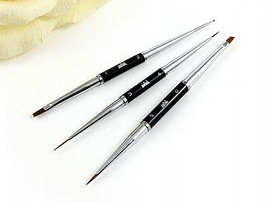 3pcs Double ended Black Nail art Set