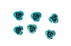 3d Metallic Flowers - Light Blue