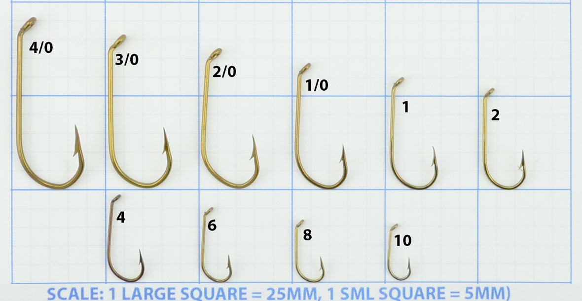 Mustad viking 540 french model fishing hooks boxes for Fishing hook size chart actual size