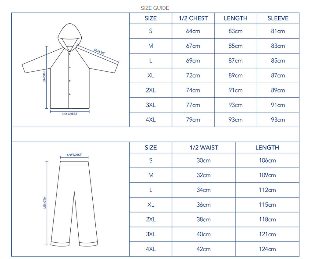 Rain Suit Size Guide