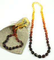 Rainbow amber teething necklace