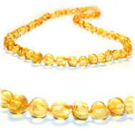Amber teething necklace - baroque lemon Baltic amber beads 13 inches long