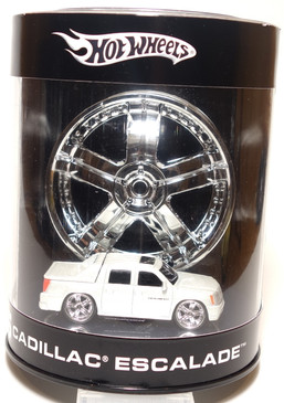 Hot Wheels Rims Series featuring the works of various wheel manufacturers with the TiS brand on this Pearl White Cadillac Escalade