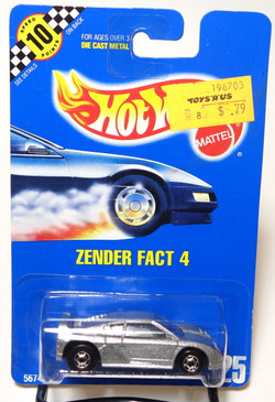 Hot Wheels Collector #125 Zender Fact 4 in metalflake Silver with HOC wheels, BP